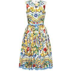 Dolce Gabbana Printed Cotton Dress ($1,396) ❤ liked on Polyvore featuring dresses, dolce gabbana dress, cotton dresses and cotton day dresses