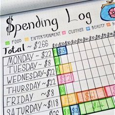 Weekly Spending Log Layout   How to use your bullet journal to keep track of your budget and savings. Financial planning using your bullet journal!
