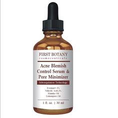 Acne Blemish Control Serum and Pore Minimizer First Botany Cosmeceuticals. Best acne treatment and anti acne serum. Visibly reduces blemishes and pore reducer. First Botany Cosmeceuticals Makeup