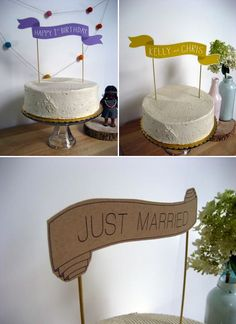 Paper cake banners. DIY/Cameo Silhouette project - no directions, but you probably just need to create a cut line, and then sketch what you want on the image... I think I could do it! Especially the top ones.