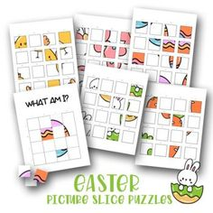 5 Easter Puzzles - Cut & Stick - Easter Activities by Red Ted Art