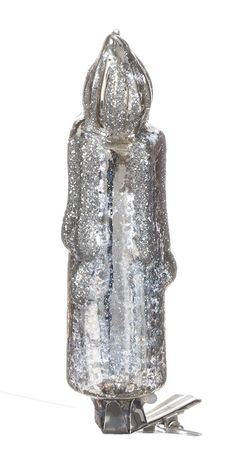 """Sullivans - Glittered Antiqued Silver Glass Clip-On Candle 4.5"""""""