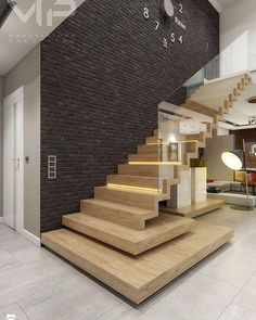 Faltwerktreppe mit Glas Staircase with glass This image has get Home Stairs Design, Railing Design, Interior Stairs, Modern House Design, Home Interior Design, Interior Architecture, Stair Design, Interior Concept, Stair Walls