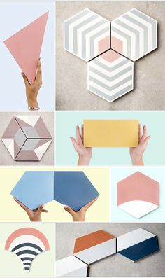 Cement tiles in many shapes, sizes and thicknesses: squared, hexagonal, rectangular, triangular and more. Instagram Mosaic, Cement Color, Diy Bathroom Decor, Bathroom Fixtures, Small Bathroom, Master Bathroom, Bathroom Ideas, Arch Interior, Style Tile