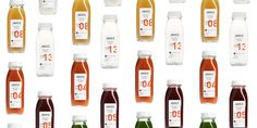 """Juice Served Herewas started by Greg Alterman and Alex Matthews whose  desire was to create """"more than just a juice company.""""  The idea behind the juice was to keep it raw, organic, and cold-pressed.  The juice is served fresh, clean and simple. It complements a store front  that is warm, inviting and just a place that people would want to hang out.  Each bottle features a clean white label with with a series of numbers that  identify the flavor of each juice."""