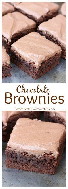Thick and Chewy Chocolate Frosted Brownies-- just like the Lunch Lady ones you loved as a kid! On MyRecipeMagic.com