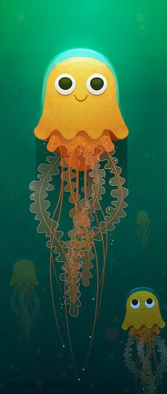 Jellfish by *aisidedpipol, via Flickr  Fun, friendly, with refined color/texturing.