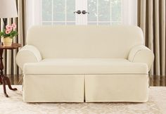 Sure Fit Slipcovers Cotton Canvas One Piece T-cushion Slipcovers - Loveseat T-cushion