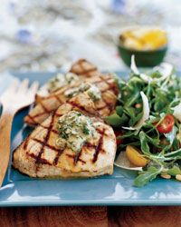 Grilled Swordfish Steaks with Basil-Caper Butter  - Grilled Seafood from Food & Wine