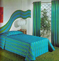 1971 aqua and green and, of course, shag carpet.