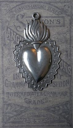 Huge Antiqued Silver White Brass Flaming Sacred Heart Ex Voto Milagro Charm Medal Pendant ~ SOLD!!!