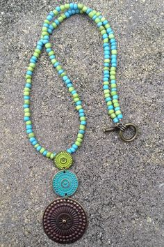 Lime Green Bronze and Turquoise Beaded Necklace by JenEmCreates