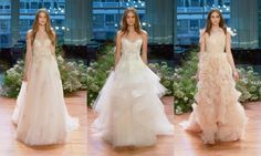 Monique Lhuillier   Monique Lhuillier's fairytale collection of white, creme and blush gowns floated down the runway at New York's Carnegie Hall, bringing the most romantic of brides dreams to life with whimsical creations that featured feathers and petal-like hand-cut ruffles.