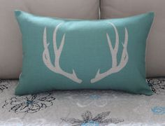 Turquoise Antlers Cotton Linen Cushion Cover Lumbar Pillow For Home Decor Lumbar Pillow, Throw Pillows, Caravan Decor, Antlers, Cotton Linen, Cushions, Turquoise, Aud, Cover