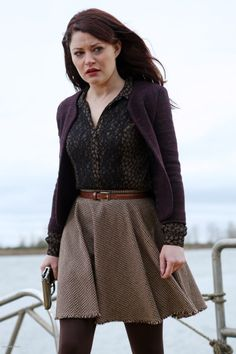 Belle's brown tweed skirt, black and gold shirt and purple jacket on Once Upon a Time.  - love this outfit!