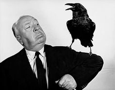 """Robert Coburn, Alfred Hitchcock publicity shot for """"The Birds"""" (with raven)"""