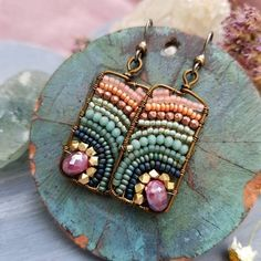 7ff0daedee3 Pre-Order Boho Beaded Earrings Fuschia Moonstone Peach Perles De Rocaille