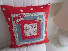 "Handmade Valentine  Patchwork Cushion   Cover   16"" x 16"""