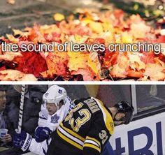 The sound of leaves crunching. Toronto Maple Leafs. Hockey memes. Hockey humor. hahah!