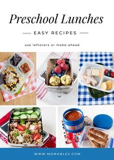 These delicious preschool lunch ideas for picky eaters are easy to put together and they kid approved! Need a protein lunch for kids? Something with more fiber? What about using up leftovers? These kid-friendly lunch recipes will make lunchtime the best part of their school day! #schoollunch #lunchboxideas