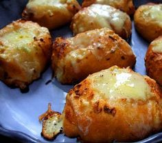 Crescent rolls stuffed with colby jack cheese and garlic spread.