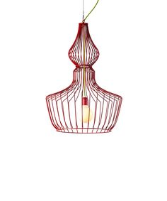 Red Romanov pendant Delicate contour of luscious curved wires inspired by  the sky line of Russian architecture, and the stylistic onion domes, that are believed to symbolize burning candles and a vault to heaven.   This elegant see through pendant  is suitable for adding an exquisite look for  home, office and commercial spaces. The Romanov  pendant is silver soldered by hand, and powder coat paint finished, available in a 5 color selection: Green, Blue, Red, Black and White.