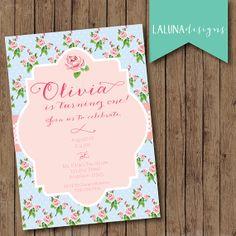 Shabby Chic Birthday Invite, Tea Party, Vintage Floral Invite, DIY Printable Vintage Birthday Invite