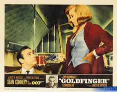 Goldfinger Lobby Cards - Take a look back at the US front of house marketing campaign for :: :: Goldfinger :: James Bond 007 James Bond Movie Posters, James Bond Movies, Original Movie Posters, Cinema Posters, Film Posters, Agent 00, Shirley Eaton, Bond Girls, Dominique