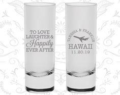 Love Laughter Shooters Imprinted Shooters by MyWeddingStore