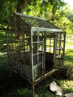 Rare turn of the century garden conservatory- bird cage- gorgeous Outdoor Spaces, Outdoor Living, Antique Bird Cages, Large Bird Cages, Gazebo, Bird Aviary, Garden Structures, Vintage Birds, Conservatory