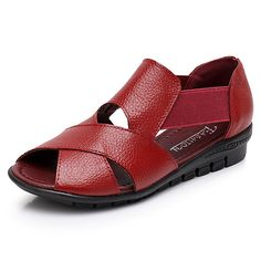 [US$39.99] Women Genuine Leather Casual Flat Sandals #Women #Genuine #Leather #Casual #Flat #Sandals