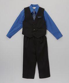 Loving this Royal Blue & Black Four-Piece Vest Set - Infant, Toddler & Boys on #zulily! #zulilyfinds