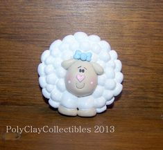 Sweet Little Sheep - Polymer Clay - Brooch  i could make these into earrings