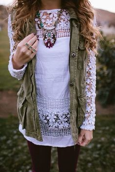 Army vest, lace, bling, statement necklace