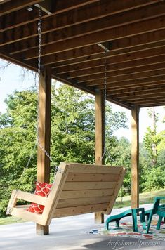 Learn how to make a porch swing using just eight pieces of lumber. The swing will provide countless hours of swinging enjoyment. Porch Swing Pallet, Diy Swing, Patio Swing, Bench Swing, Swing Seat, Outdoor Rooms, Outdoor Living, Outdoor Kitchens, Outdoor Seating