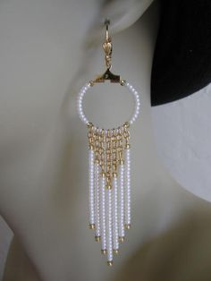 Seed Bead Chain Hoop Earrrings - Pearl Cream.