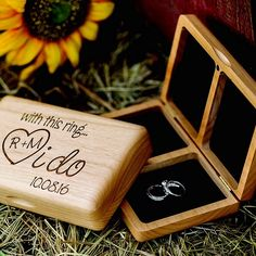 Like the heart and initials he carved in that old tree years ago, this his and hers carved wood ring box personalized with the bride and groom's initials inside a carved heart will evoke those moments of love that led you down the aisle on your wedding day. Perfect for a romantic Boho woodland wedding ceremony, this rustic alternative to the traditional ring pillow is pocket-sized and can be ordered at http://myweddingreceptionideas.com/garland-surround-carved-initials-pocket-ring-box.asp