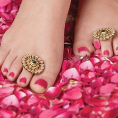 Foot jewelry is an essential part of a bridal dress arrangement, and as one can see, both anklets and toe rings have re-entered the realms of present-day