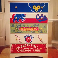 The newest piece of furniture in Rigley's room! I'm so happy I can't even handle it! Nursery Themes, Nursery Ideas, Nursery Decor, Baseball Nursery, Sport Theme, Go Cubs Go, Ladies Fancy Dress, Kids Decor, Home Decor
