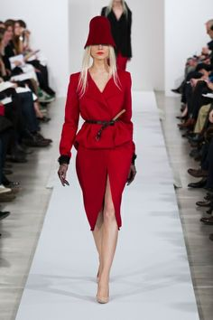 Oscar de la Renta Fall 2013 deep burgundy red belted hat skirt dress jacket coat