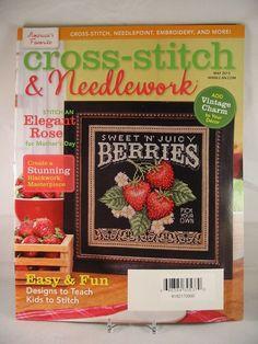Cross Stitch & Needlework Magazine May 2013 Spring Flowers Iris Bench Birds New