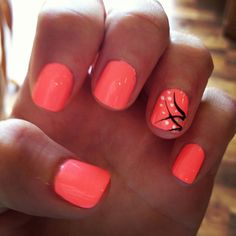 Image via Neon orange nail art design Image via stiletto nails! Fancy Nails, Diy Nails, Cute Nails, Pretty Nails, Orange Nail Art, Neon Orange Nails, Coral Toe Nails, Bright Coral Nails, Bright Colors