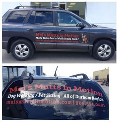 Digital print graphics and cut vinyl graphics installed for Mel's Mutts in Motion.  #vehiclegraphics #mobileadvertising www.SpeedproDurham.ca