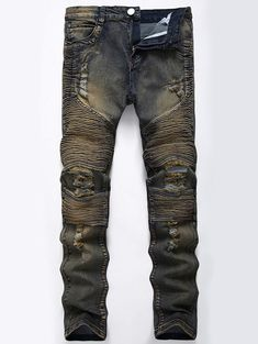 Straight Color Wash Ripped Biker Jeans