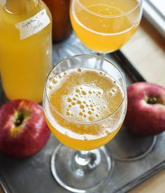 How to Make Sparkling Cider with just 2 ingredients.  There are also directions for making hard cider.