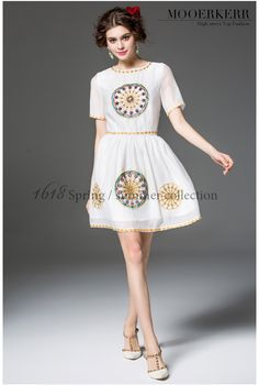 2016 Spring Runway Women Dress O-neck Beading Embroidery Diamonds Vintage Fashion Elegant Tutu Dress CH109 - STYLANDO