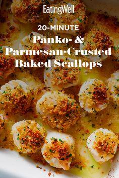 Easy Scallop Recipes, Shrimp And Scallop Recipes, Easy Chicken Dinner Recipes, Healthy Dinner Recipes, Cooking Recipes, Salmon Recipes, Fish Recipes, Seafood Recipes, Breaded Scallops Recipe