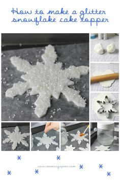 How to make a glitter snowflake cake topper ~ for your winter wonderland cake! www.savoringspoon.com