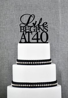 Life Begins At 40 Birthday Topper, Elegant 40th Birthday Topper, Fortieth…