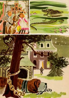 I thought I had only pinned the main picture but I got the other two too. I think the crocodile illustration is very effective, but the dog, owl, and house are still my favorite. Description: Peter Pan retold for little children by Marcia by ElwoodAndEloise, on Etsy